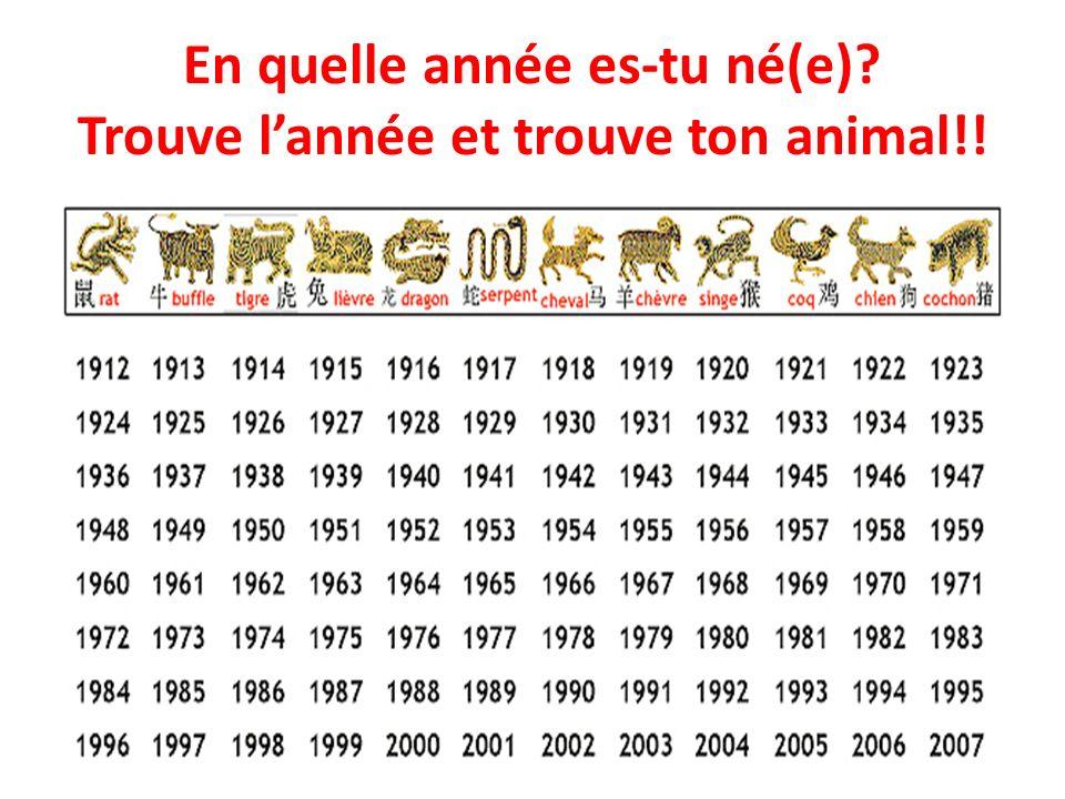 En quelle année es-tu né(e) Trouve l'année et trouve ton animal!!