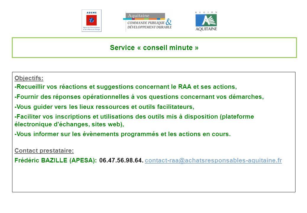 Service « conseil minute »