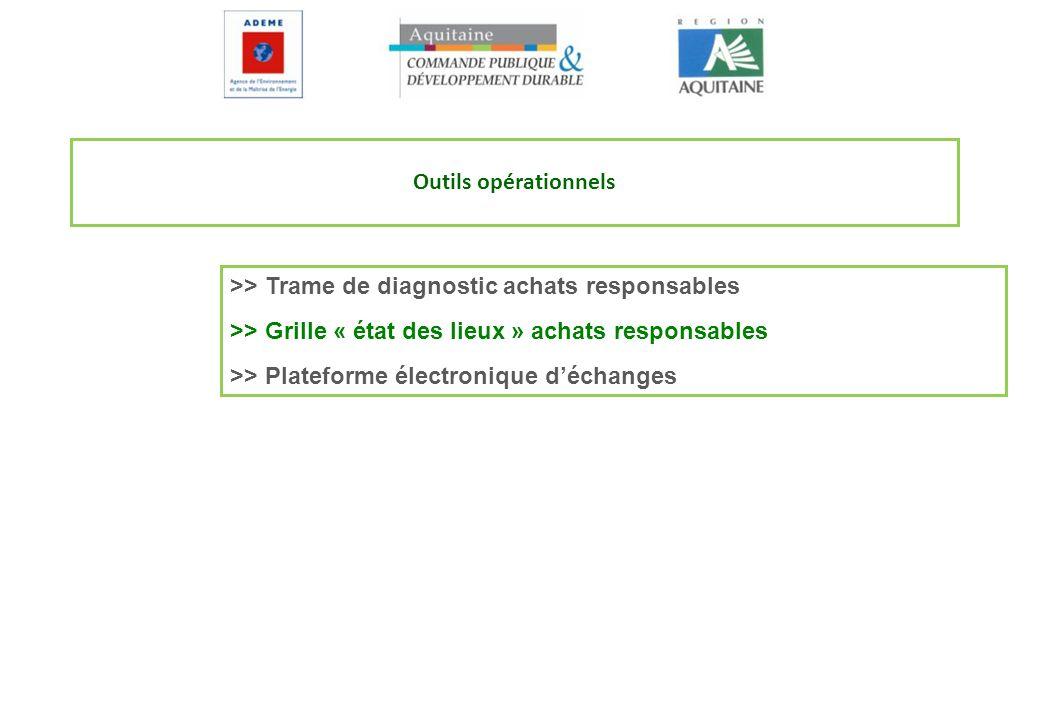 Outils opérationnels >> Trame de diagnostic achats responsables. >> Grille « état des lieux » achats responsables.