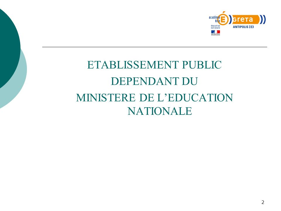 MINISTERE DE L'EDUCATION NATIONALE