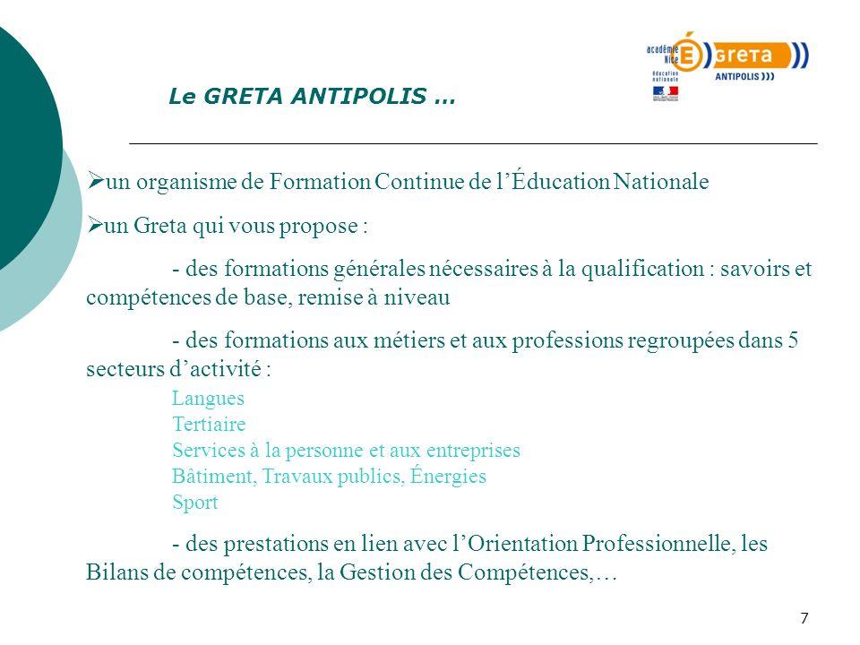 Le GRETA ANTIPOLIS … un organisme de Formation Continue de l'Éducation Nationale. un Greta qui vous propose :
