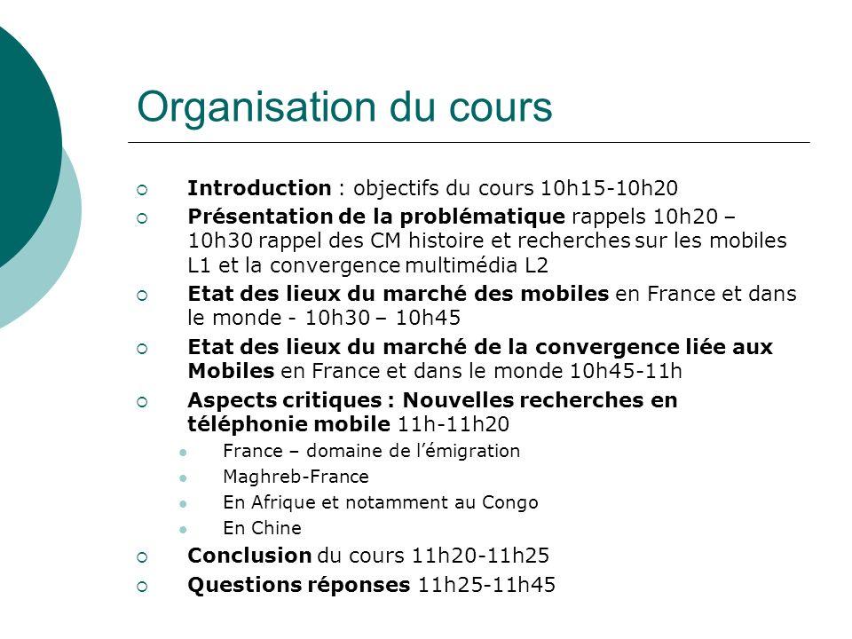 Organisation du cours 2 Introduction : objectifs du cours 10h15-10h20