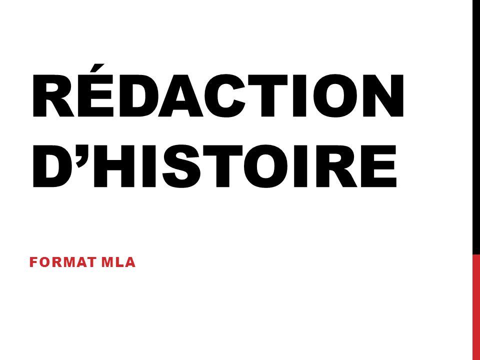 Rédaction d'histoire Format MLA
