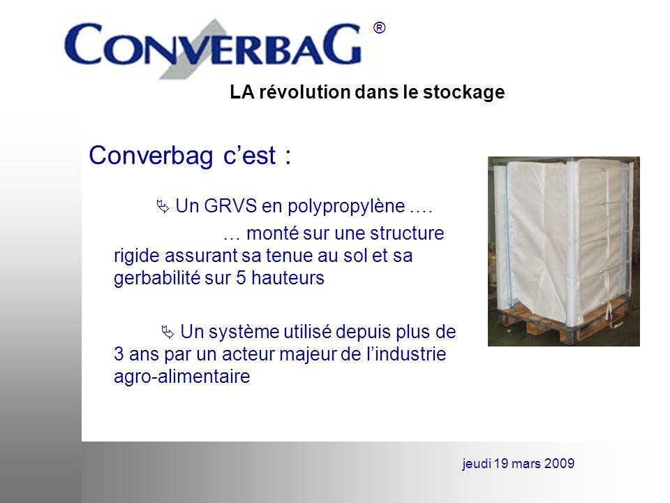Converbag c'est :  Un GRVS en polypropylène …. … monté sur une structure rigide assurant sa tenue au sol et sa gerbabilité sur 5 hauteurs.