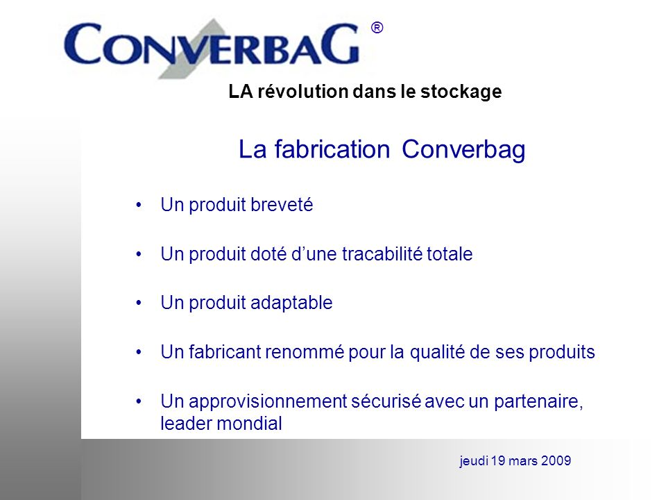 La fabrication Converbag
