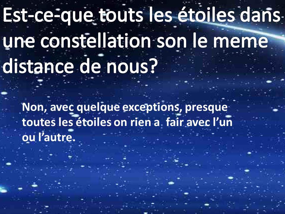 Est-ce-que touts les étoiles dans une constellation son le meme distance de nous