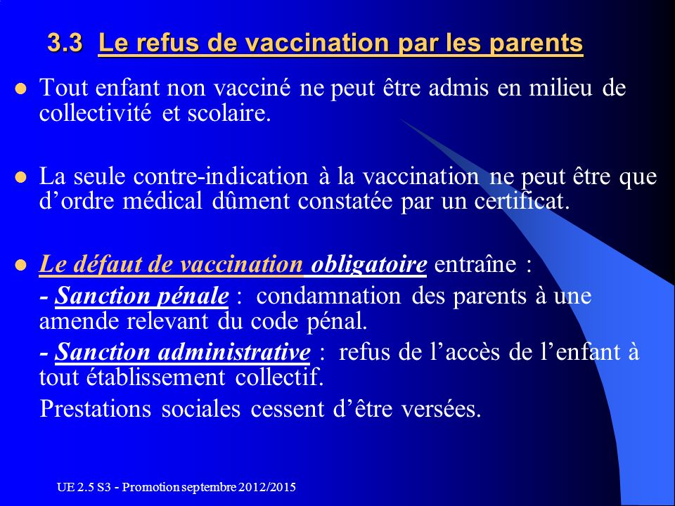 3.3 Le refus de vaccination par les parents