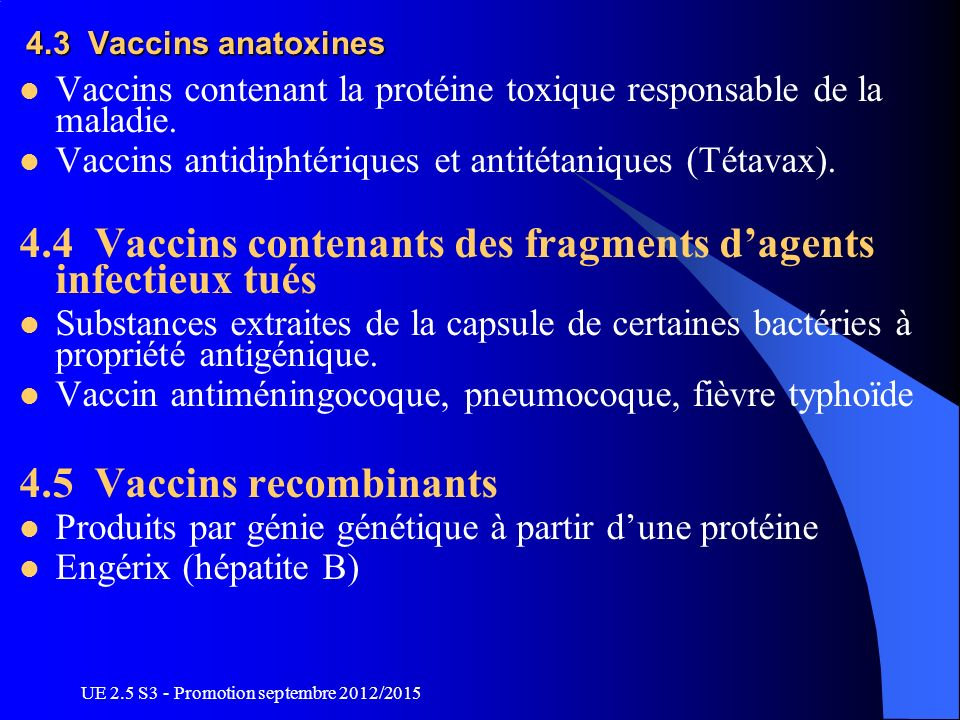 4.4 Vaccins contenants des fragments d'agents infectieux tués