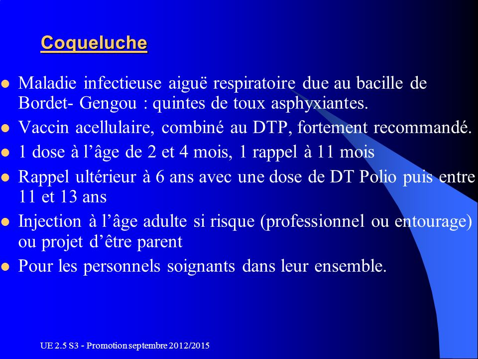Vaccin acellulaire, combiné au DTP, fortement recommandé.