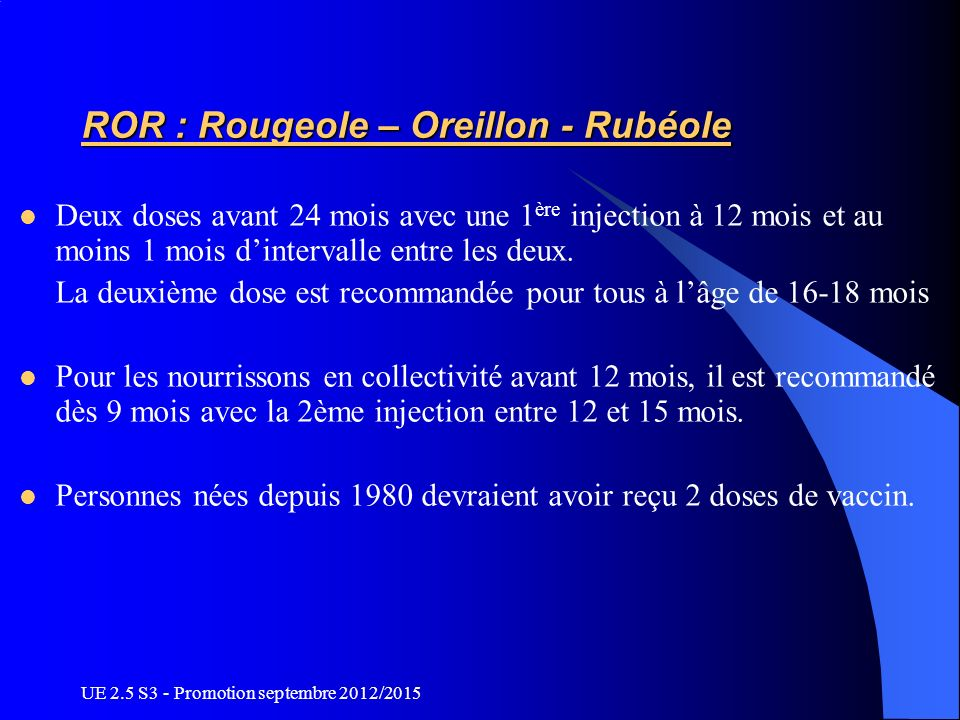 ROR : Rougeole – Oreillon - Rubéole