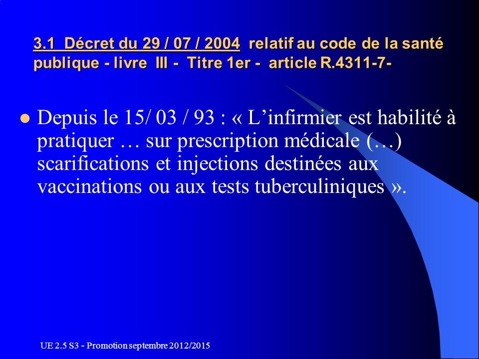 3.1 Décret du 29 / 07 / 2004 relatif au code de la santé publique - livre III - Titre 1er - article R.4311-7-