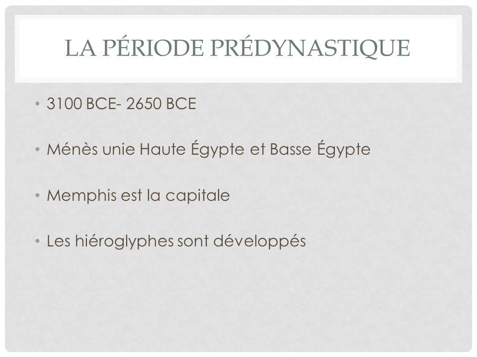 La période prédynastique