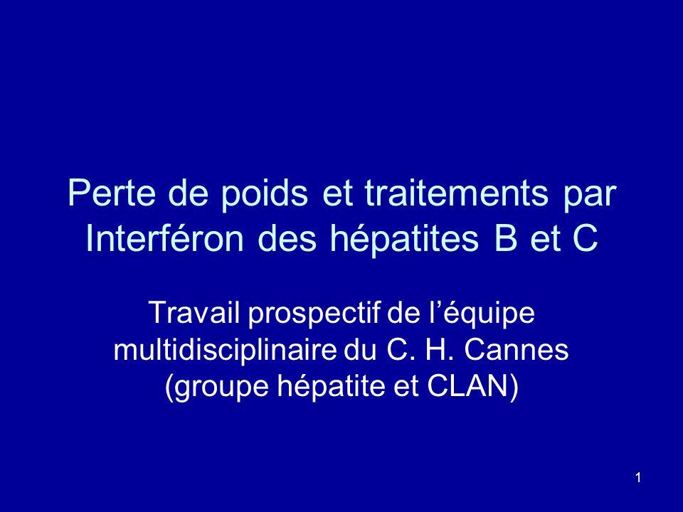 Perte de poids et traitements par Interféron des hépatites B et C