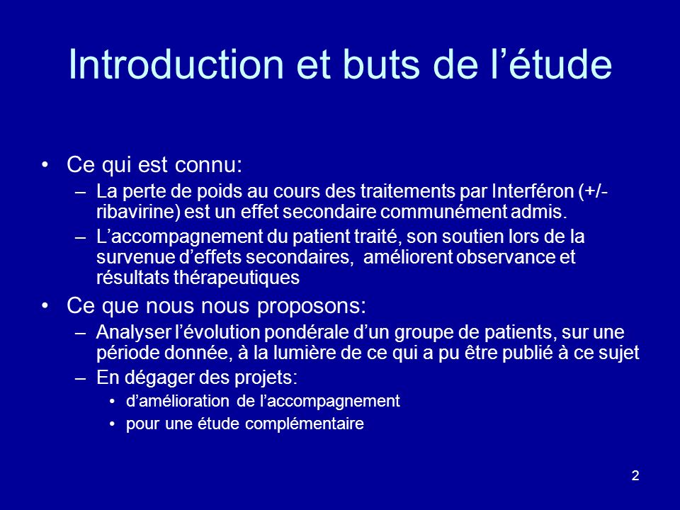 Introduction et buts de l'étude