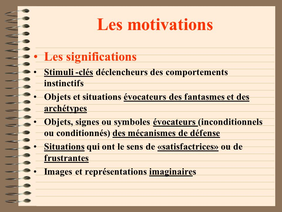 Les motivations Les significations