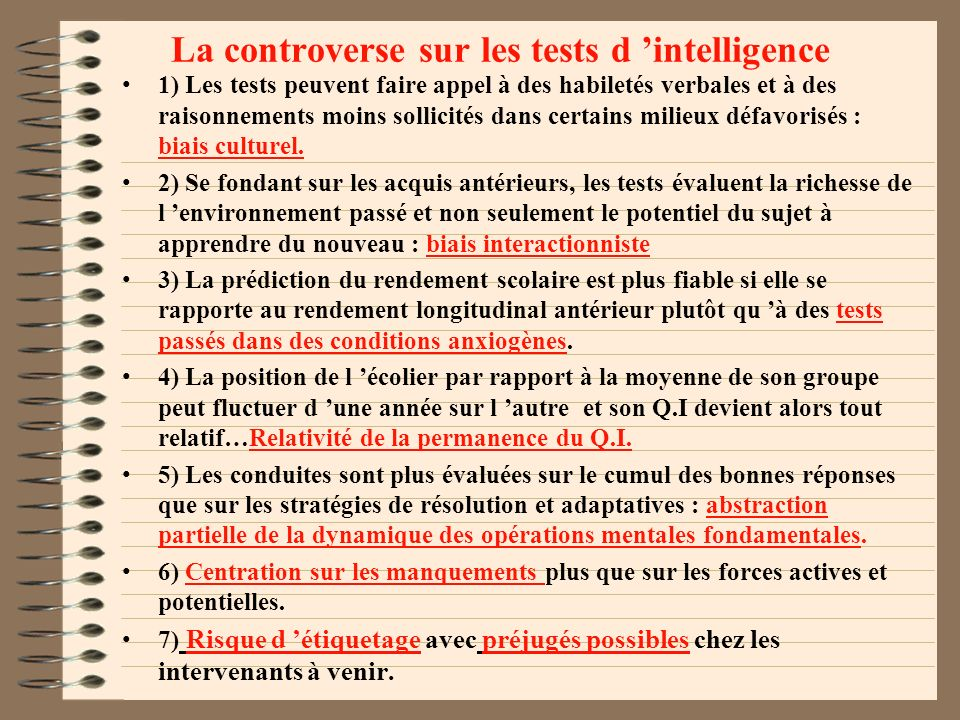 La controverse sur les tests d 'intelligence