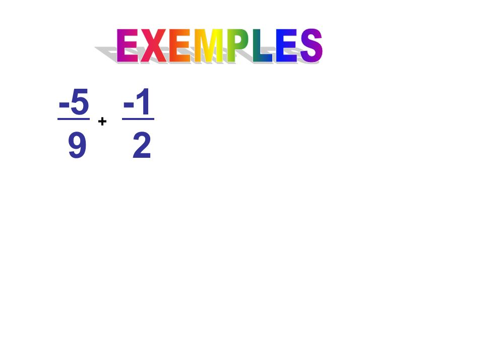EXEMPLES -5 9 -1 2 +