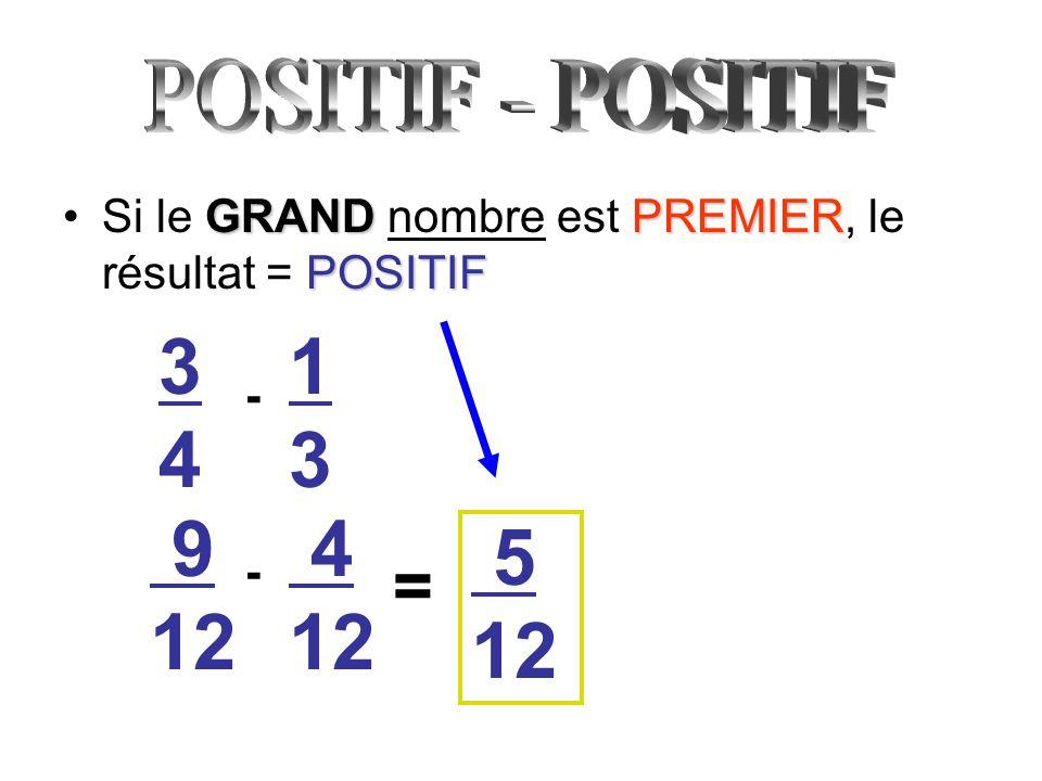 POSITIF - POSITIFSi le GRAND nombre est PREMIER, le résultat = POSITIF. 3. 4. 1. 3. - 9. 12. 4. 12.