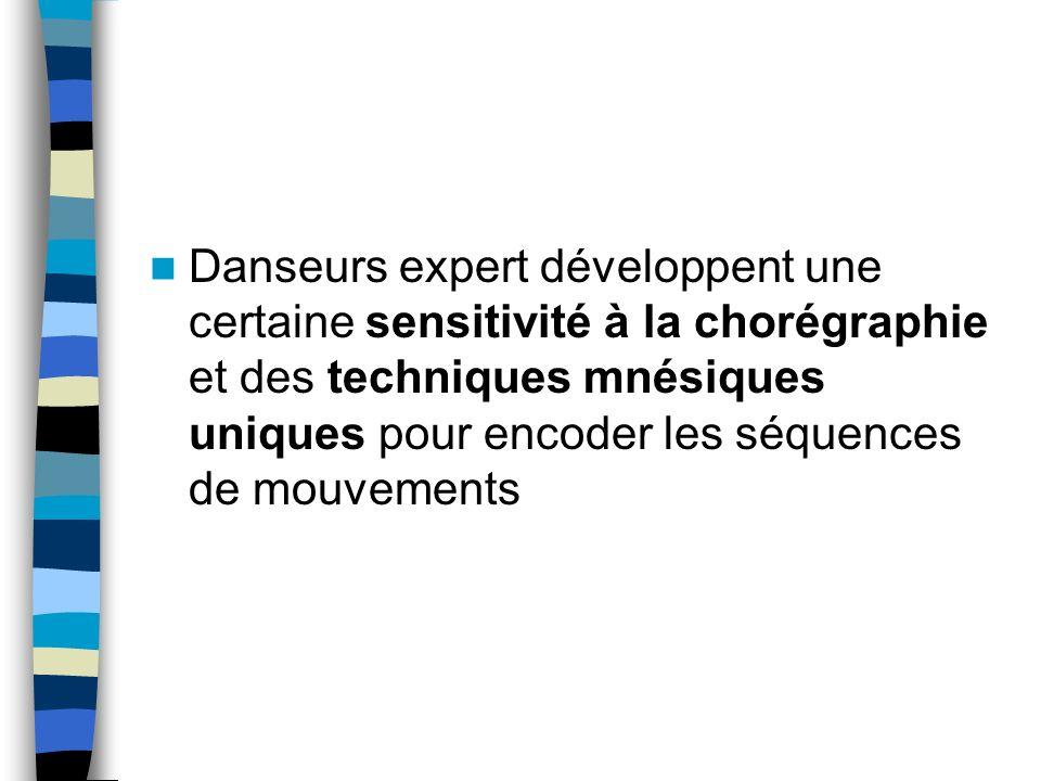 Danseurs expert développent une certaine sensitivité à la chorégraphie et des techniques mnésiques uniques pour encoder les séquences de mouvements