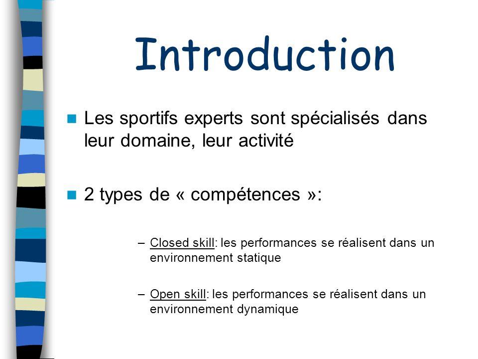 Introduction Les sportifs experts sont spécialisés dans leur domaine, leur activité. 2 types de « compétences »: