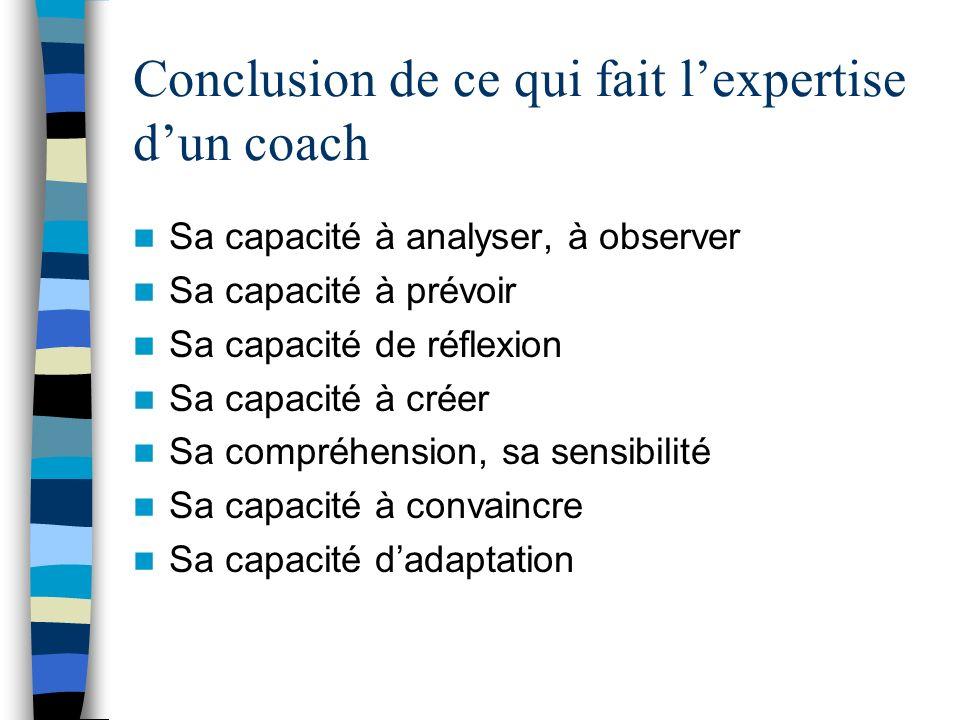 Conclusion de ce qui fait l'expertise d'un coach