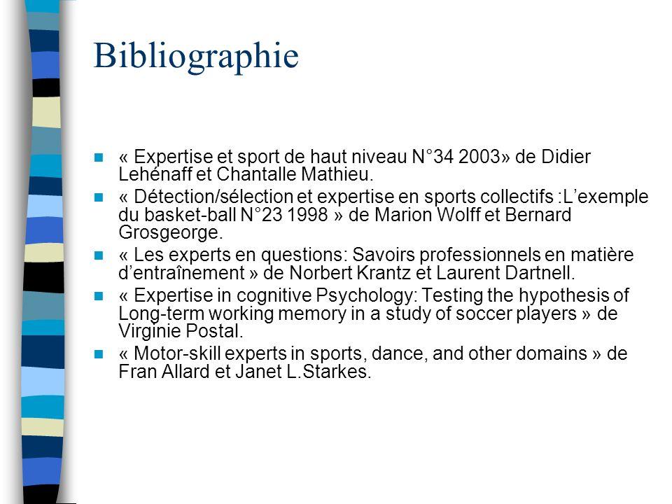 Bibliographie « Expertise et sport de haut niveau N°34 2003» de Didier Lehénaff et Chantalle Mathieu.