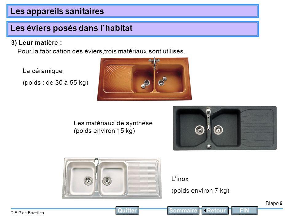 3) Leur matière : Pour la fabrication des éviers,trois matériaux sont utilisés. La céramique. (poids : de 30 à 55 kg)