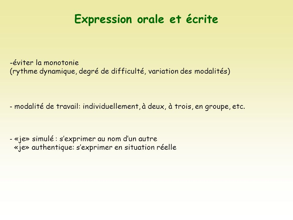 Expression orale et écrite