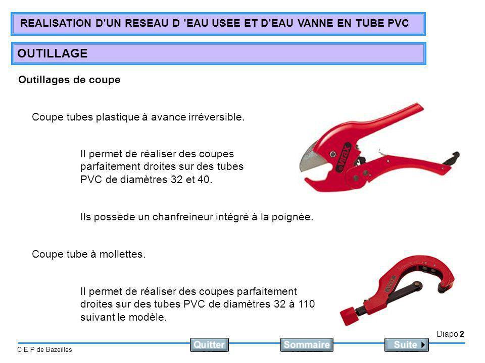 Outillages de coupe Coupe tubes plastique à avance irréversible.