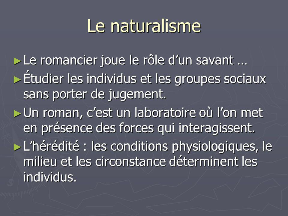 Le naturalisme Le romancier joue le rôle d'un savant …