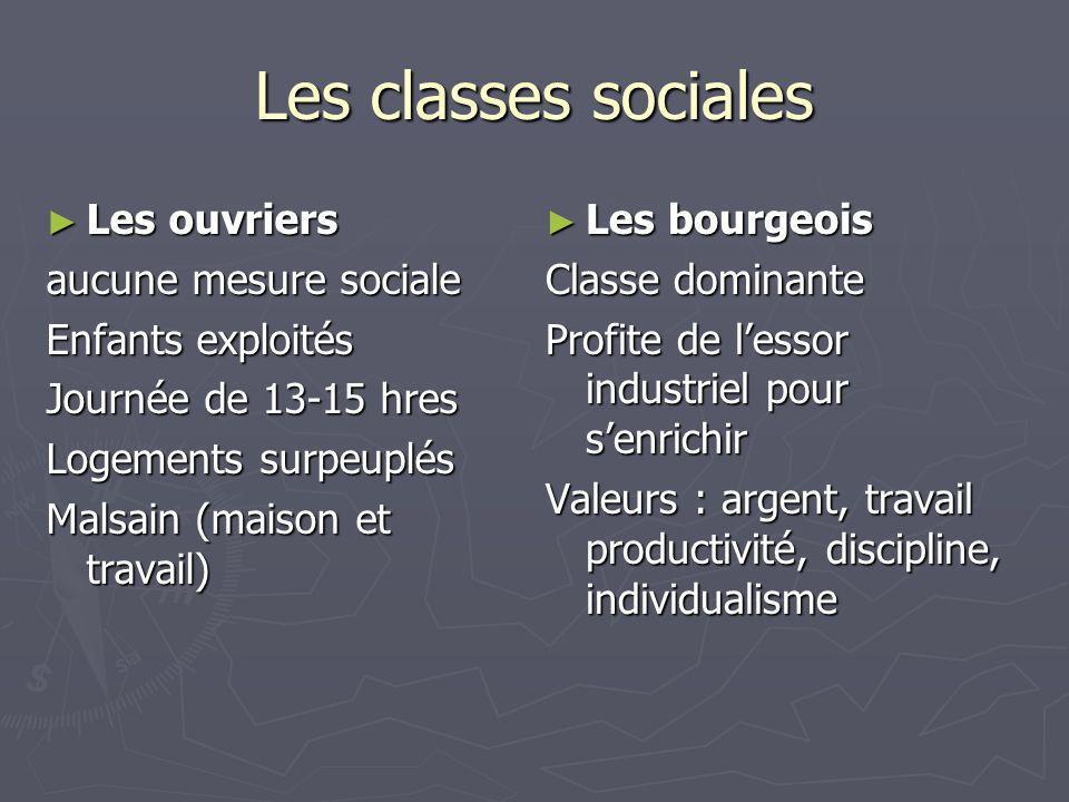Les classes sociales Les ouvriers aucune mesure sociale