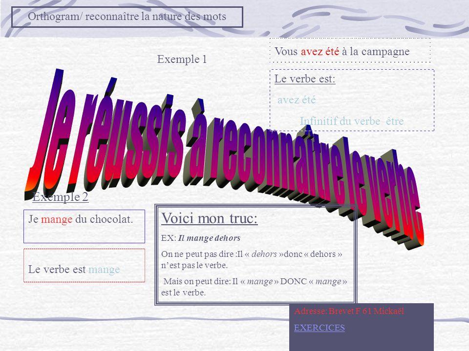 Voici mon truc: Exemple 2 Orthogram/ reconnaître la nature des mots