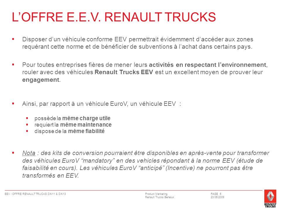 L'OFFRE E.E.V. RENAULT TRUCKS