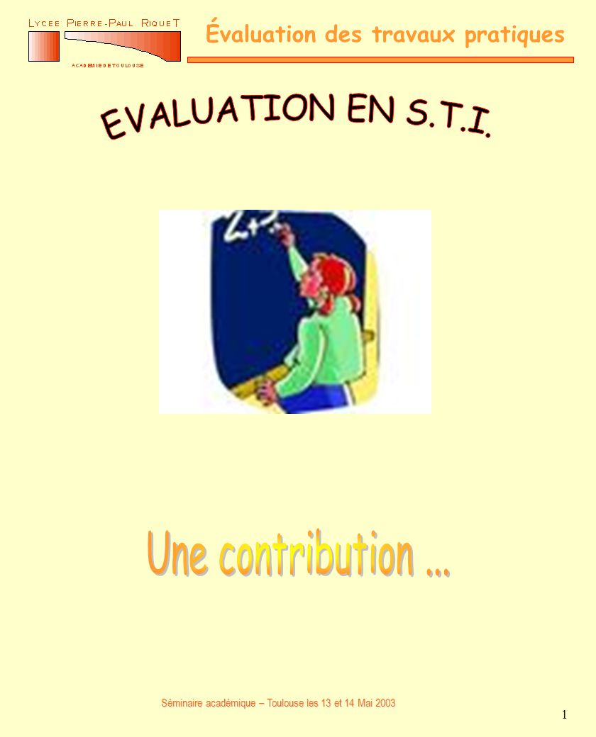 EVALUATION EN S.T.I. Une contribution ...