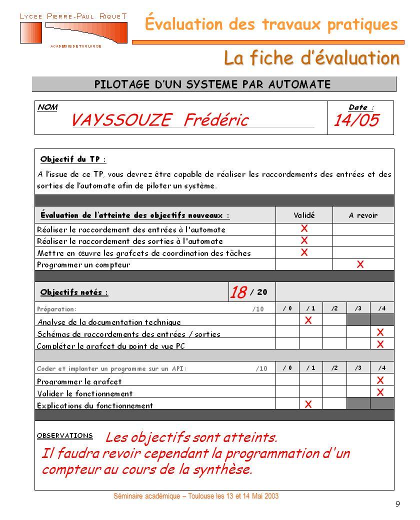 La fiche d'évaluation VAYSSOUZE Frédéric 14/05 18