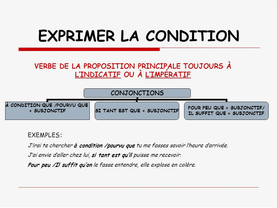 EXPRIMER LA CONDITION VERBE DE LA PROPOSITION PRINCIPALE TOUJOURS À L'INDICATIF OU À L'IMPÉRATIF. EXEMPLES: