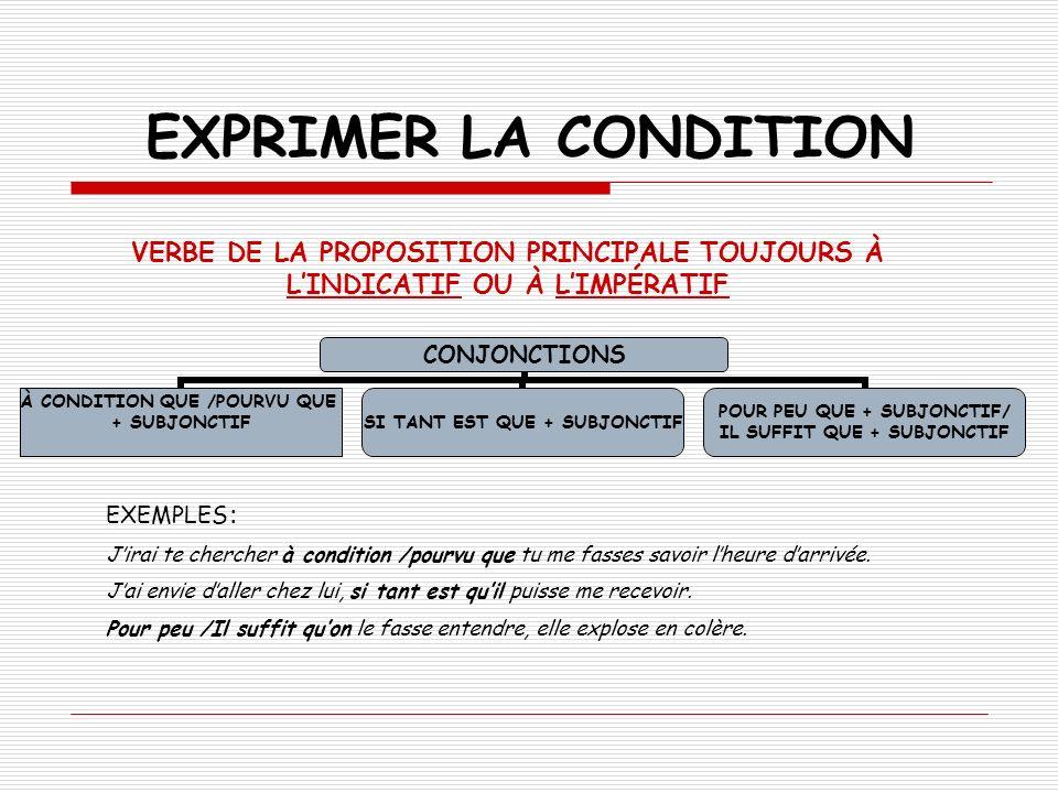 EXPRIMER LA CONDITIONVERBE DE LA PROPOSITION PRINCIPALE TOUJOURS À L'INDICATIF OU À L'IMPÉRATIF. EXEMPLES: