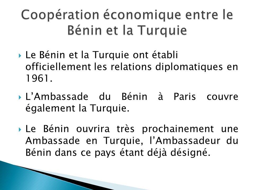 Coopération économique entre le Bénin et la Turquie