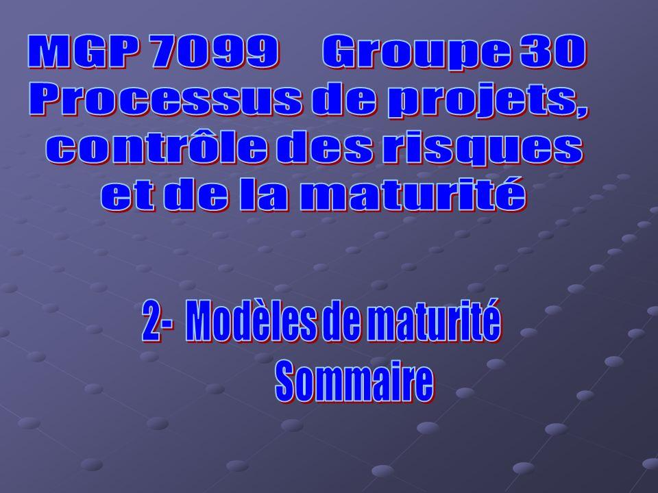 MGP 7099 Groupe 30 Processus de projets, contrôle des risques. et de la maturité. 2- Modèles de maturité.