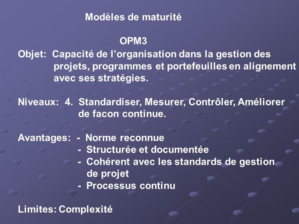 Modèles de maturité OPM3. Objet: Capacité de l'organisation dans la gestion des. projets, programmes et portefeuilles en alignement.