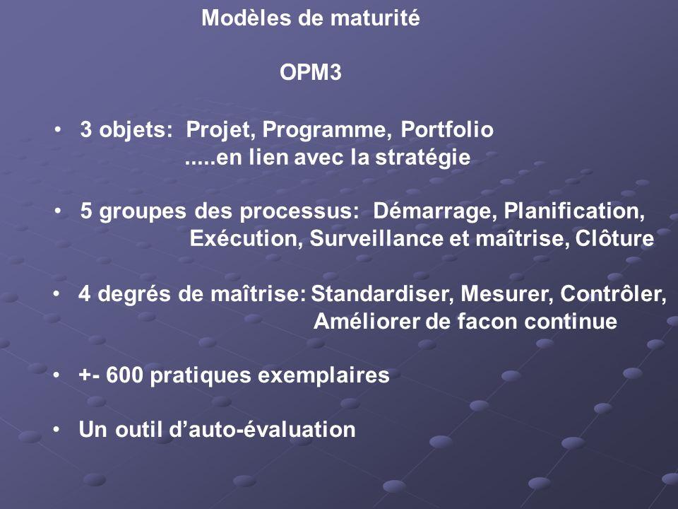 Modèles de maturité OPM3. 3 objets: Projet, Programme, Portfolio. .....en lien avec la stratégie.