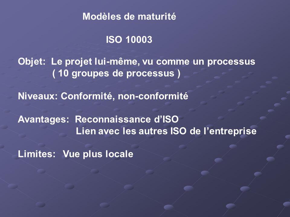 Modèles de maturité ISO 10003. Objet: Le projet lui-même, vu comme un processus. ( 10 groupes de processus )