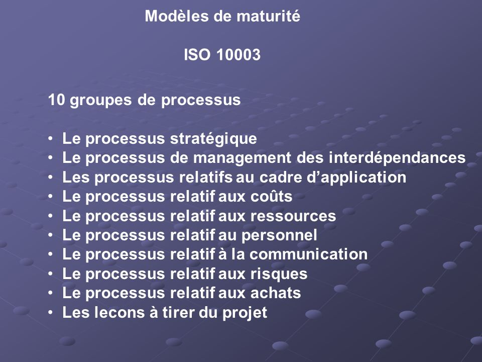 Modèles de maturité ISO 10003. 10 groupes de processus. Le processus stratégique. Le processus de management des interdépendances.