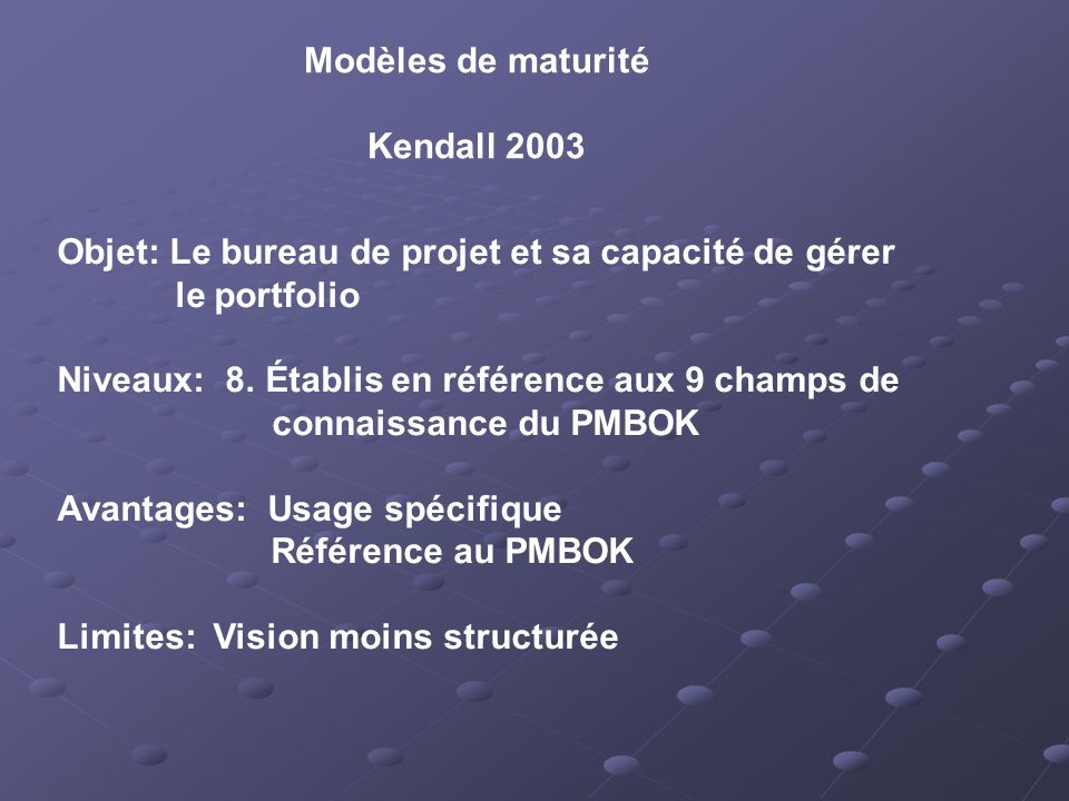 Modèles de maturité Kendall 2003. Objet: Le bureau de projet et sa capacité de gérer. le portfolio.