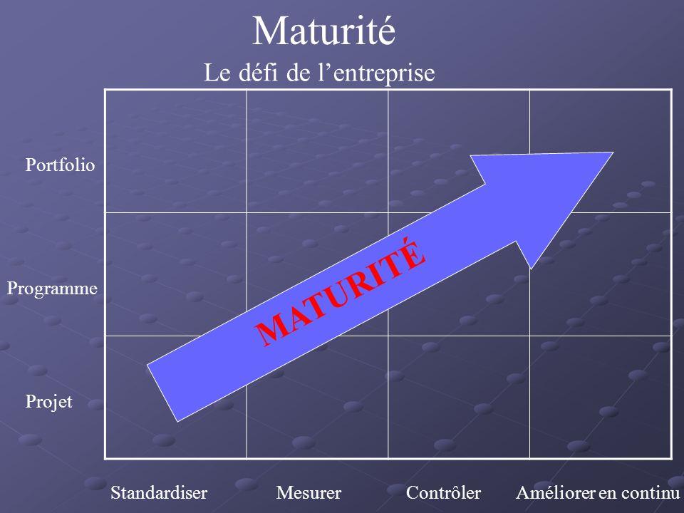Maturité MATURITÉ Le défi de l'entreprise Portfolio Programme Projet