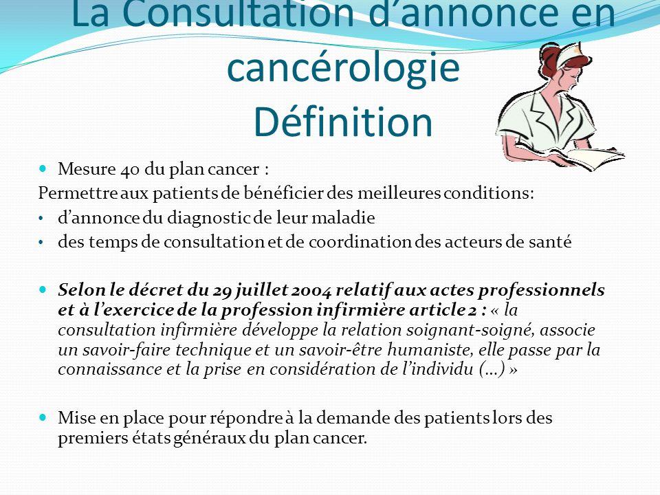 La Consultation d'annonce en cancérologie Définition