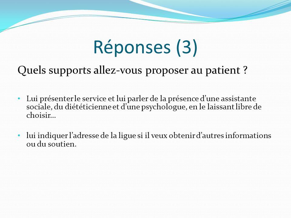 Réponses (3) Quels supports allez-vous proposer au patient