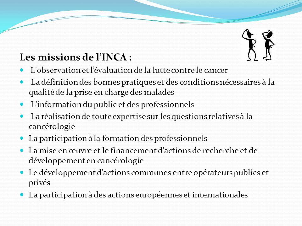 Les missions de l'INCA :