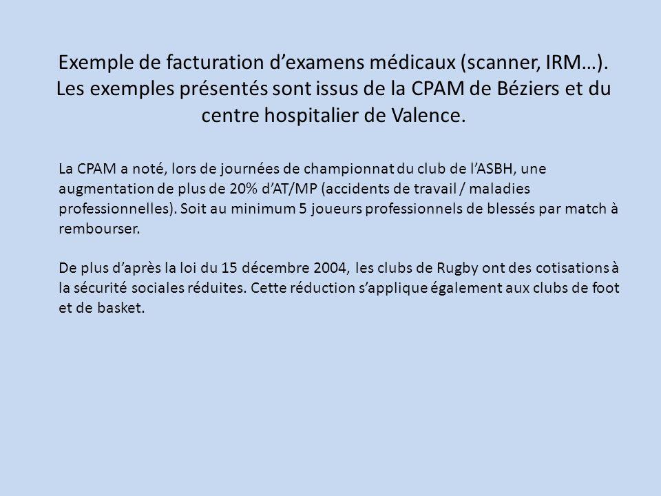 Exemple de facturation d'examens médicaux (scanner, IRM…)