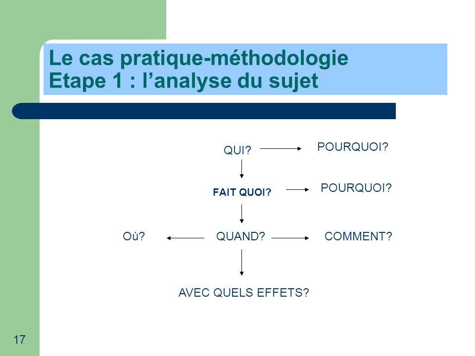 Le cas pratique-méthodologie Etape 1 : l'analyse du sujet